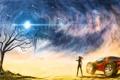 Картинка девушка, пустыня, буря, Планета, автомобиль, космические корабли
