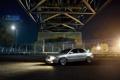 Картинка ночь, мост, Audi, ауди, серебристая