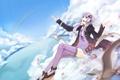 Картинка девушка, облака, птицы, чайки, радуга, vocaloid, в небе