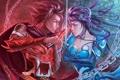 Картинка девушка, оружие, противостояние, меч, фэнтези, арт, парень