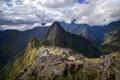 Картинка небо, облака, горы, город, развалины, руины, Перу