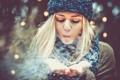 Картинка девушка, снег, шапка, блондинка