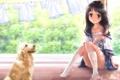 Картинка лето, собака, аниме, девочка