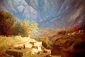 Картинка осень, деревья, пейзаж, горы, река, люди, дома