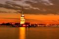 Картинка закат, облака, небо, ночь, море, вечер, İstanbul