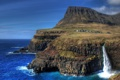 Картинка водопад, остров, скалы, деревня, island