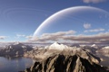 Картинка облака, горы, озеро, планета, кольца
