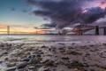 Картинка закат, город, вечер, Шотландия, Эдинбург, железнодорожный мост, висячий автомобильный мост Форт-Роуд-Бридж