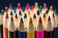 Картинка макро, синий, жёлтый, розовый, коричневый, малиновый, цветные карандаши