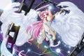 Картинка девушка, прыжок, крылья, ангел, меч, цепи