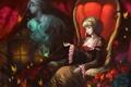 Картинка девушка, бабочки, дым, трубка, дух, кресло, курит