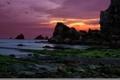 Картинка море, пейзаж, закат, скалы, Playa de Portio