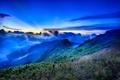Картинка закат, облака, горы, лес, небо