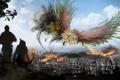 Картинка город, люди, огонь, птица, дым, фэнтези, арт