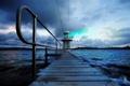 Картинка море, небо, облака, пейзаж, природа, город, река