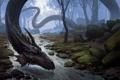 Картинка лес, река, камни, мох, арт, змей