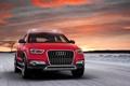 Картинка Audi, Закат, Джип, Передок, Красный, Лого, Небо