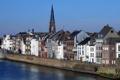 Картинка небо, вода, башня, дома, Нидерланды, набережная, Маастрихт