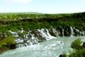 Картинка природа, река, поток, водопады, эфект, уменьшеный