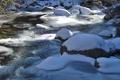 Картинка снег, река, камни, лёд, мороз