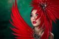 Картинка девушка, перья, макияж, Chakrit Chanpen