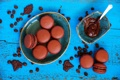 Картинка сладость, шоколад, пирожное, кофейные зерна, шоколадная паста, макаруны
