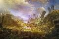 Картинка город, руины, заброшенность, путники, War of the Immortals