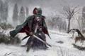 Картинка зима, лес, снег, человек, меч, доспехи, арт