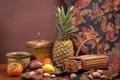 Картинка лимон, ткань, ананас, орехи, натюрморт, хурма