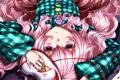 Картинка девушка, лепестки, маска, арт, лежит, touhou, hata no kokoro