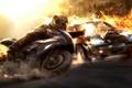 Картинка машина, взрыв, огонь, скорость, мотоцикл, гонки, Wheelman