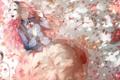 Картинка девушка, лепестки, сакура, арт, рога, маски, touhou