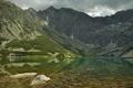 Картинка зелень, трава, облака, снег, горы, озеро, отражение