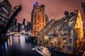Картинка вода, мост, город, здания, чикаго, улицы, chicago