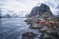 Картинка море, горы, дома, Норвегия