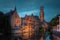 Картинка река, здания, вечер, архитектура, Belgium