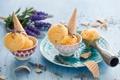 Картинка мороженое, рожок, лаванда, пиалы