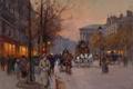 Картинка осень, закат, ретро, Париж, Edouard Cortes, By the Madeleine