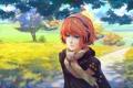 Картинка девушка, Осень, наушники, шарф