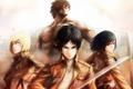 Картинка девушки, меч, арт, парень, shingeki no kyojin