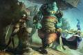 Картинка девушка, оружие, стена, мужик, монстр, меч, воин