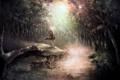 Картинка лес, деревья, река, магия, аниме, арт, парень