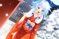 Картинка девушка, снег, луна, арт, кимоно, touhou, izayoi sakuya