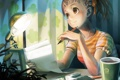 Картинка письмо, настроение, лампа, вечер, аниме, девочка