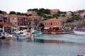 Картинка побережье, дома, лодки, кафе, Турция