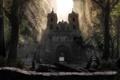 Картинка лес, скалы, ворота, храм