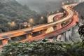 Картинка выдержка, весна, дорога, Тайвань, хайвей, свет, огни