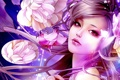 Картинка woman, flowers, face, oriental