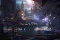 Картинка транспорт, prey 2, ночь, огни, concept art, город, корабли
