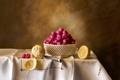 Картинка ягоды, малина, стол, лимон, нож, посуда, фрукты